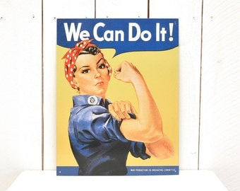 We Can Do It! Metal Sign Early 90s Rosie the Riveter Vintage Motivational Poster