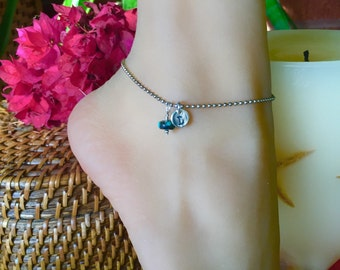 Special Sterling Silver Anklet with monogrammed tag and colorful bead of your choice. 9 inch chain. Custom inital A to Z stamped charm.