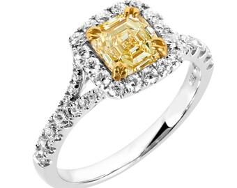 Diamond Engagement Ring, Engagement Jewelry, Yellow Diamond Engagement Ring,18K Gold, Gift For Wife,Yellow Diamond, Two Tone Engagement Ring