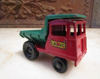 Vintage red and green, No. #2, 1961', Matchbox, dumper with 'Laing' decal, England!