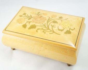 Italian Inlay Rose Jewelry Music Box - Inlaid Wood Works Sorrento Music Jewelry Box - Small Maple Music Box - Maple Santa Lucia Music Box