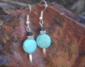 five dollar earrings, five dollar gifts, howlite earrings, blue earrings, blue and black earrings, Montana, hypo allergenic, turquoise