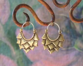 Bronze Large Lotus Hoop Earrings