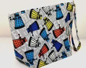 Large Zipper Wedge Bag in Dr. Who Exterminate Dalek Quilting Fabric with Yellow and White Polka Dot Cotton Lining