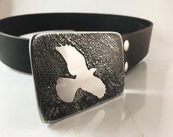 Raven Belt Buckle - Etched Stainless Steel - Handmade