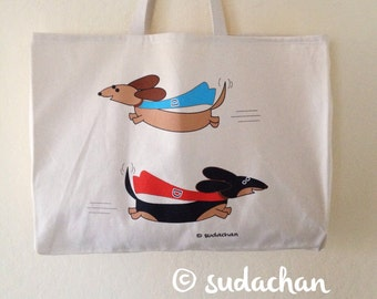 Super Dachshunds Large Cotton Twill Tote