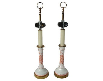 Vintage French Faience Candlestick Lamp Pair
