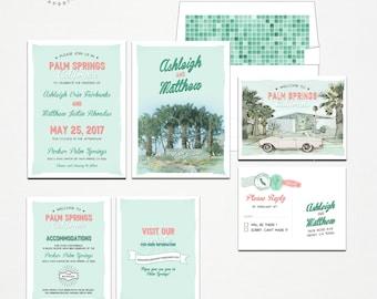 Destination wedding invitation Palm Springs California USA Retro Desert Wedding Invitation Set - Deposit Payment