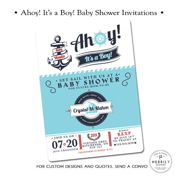 Ahoy It39;s a Boy, Nautical Baby Shower Invitations for a Boy, Nautical