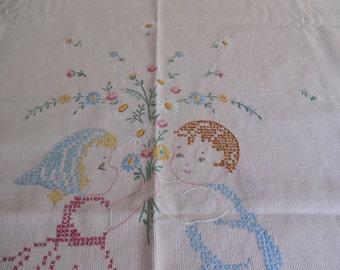 Sweet Vintage Embroidered Baby Crib Bedspread Coverlet Nursery
