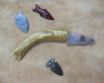 Coral Knife blade with deer antler handle