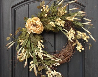 Spring Summer Fall Cream Berry Branches Woodsy Wispy Cream Peony Twig Grapevine Door Wreath Decor -Use Year Round- Indoor Outdoor Decoration