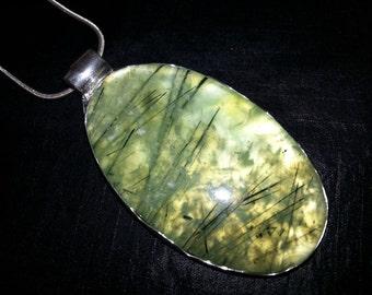 Prehnite Pendant,  Sterling Silver Large Prehnite Pendant