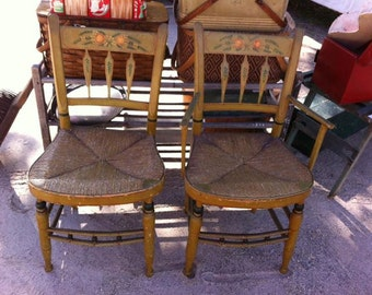 Pair of Antique Painted Arrow Back Rush Seat Chairs