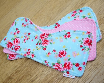 Pretty floral roses Baby Burp Cloths - set of 3 - white toweling and cotton baby gift. Baby shower, new baby girl gift. Baby Christmas Gift