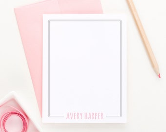 Personalized Stationery for Girls // Flat Notecards // Girls Stationary // Personalized Notecards // Choose your colors, PS011