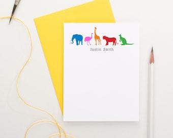 Animal Thank you cards, Zoo Note Cards for, Zoo Birthday note cards, Animal Note Cards, Elephant, Ostrich, Giraffe, Tiger, Kangeroo, KS030