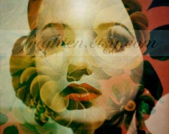 Surreal Art, Floral Art, Retro Art Print, Colorful Art, Double Exposure, Mixed Media, Spring Art