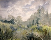 Watercolor Landscape archival print, watercolor painting, scenic woodland nature painting, country forest landscape watercolor artwork.