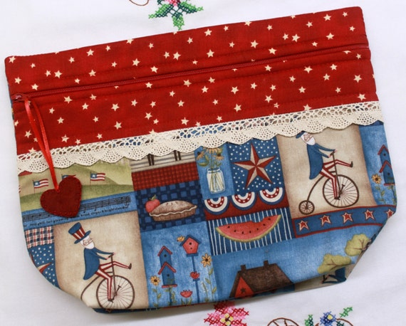 Lil' Big Bottom Primitive Uncle Sam Cross Stitch Embroidery Bag