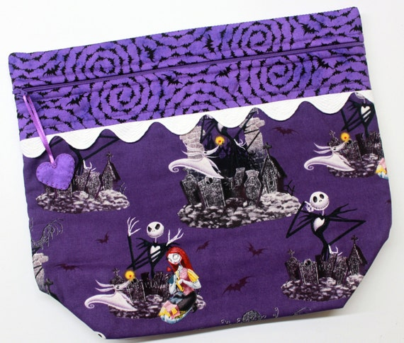Big Bottom Purple Jack Skellington Cross Stitch, Embroidery Project Bag
