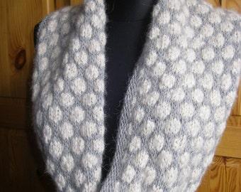 Knit Cowl, Scarf ,Neckwarmer,Snood -handknit Warm Grey Babyalpaca Wool Chunky Cowl with wood buttons