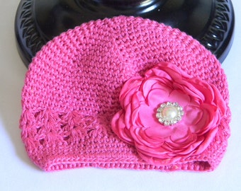 """Hot Pink Crocheted Beanie Hat for Infant w/ 3"""" Hot Pink Satin Flower & Rhinestone Pearl Center on Alligator Clip Photo Prop Baby Portraits"""