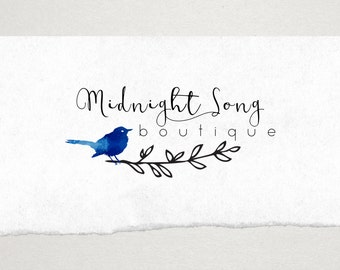 Premade Logo // Logo Design // Business Logo //  Photography Logo // Watercolor Bird Logo