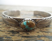 Sterling Silver Artisan Number 8 Turquoise Feather Cowgirl Cuff Bracelet