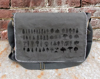 Cotton Canvas Messenger Bag - Tree Diagram - Screen Printed Cotton Canvas Messenger