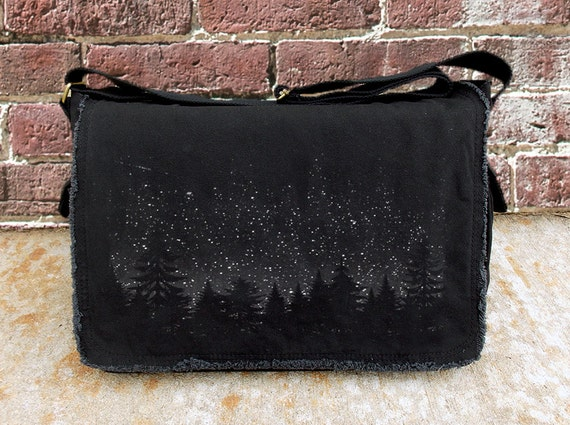 Messenger Bags - Stars and Night Landscape - Screen Printed Messenger Bag