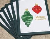 Christmas Card set, Set of 6, Merry  Christmas, Christmas Ornaments, Handmade Christmas Card sets