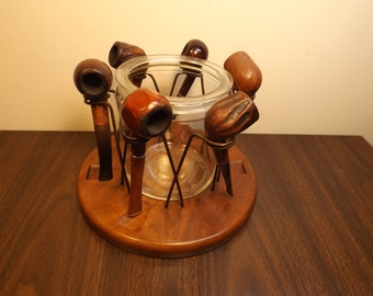 Sale Lot pipes Vintage tobacco Pipe collection Vintage tobacco pipes lot  six stand and glass jar RARE instant pipe collection Gift for him