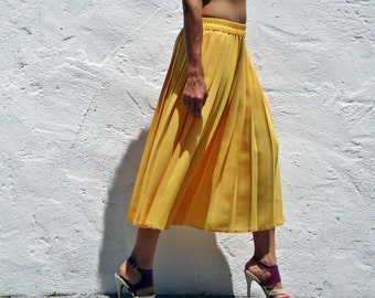 Yellow Pleated Maxi Midi Skirt 70s Retro Fashion Secretary Student Geeky Skirt