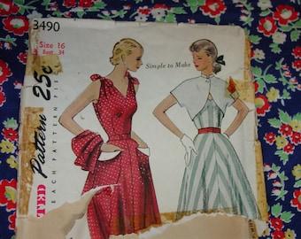 Vintage Pattern c.1951 Simplicity No.3490 Sundress & Bolero, Size 16