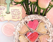 Valentine's Day Treats - Heart Cookie Gift Tin - 21 SMALL Shortbread Hearts  - You Choose Flavor