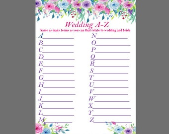 Floral Bridal Shower A-Z Game - Printable