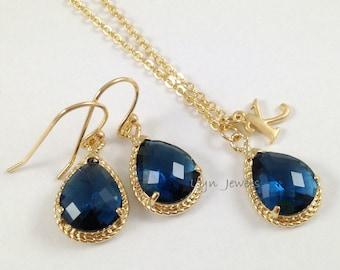 Sapphire Jewelry Set - Gold Trim Navy Blue Glass Teardrop Personalize Necklace Earrings Set - Dark Blue Bridesmaids Jewelry