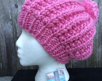 Women Slouchy Beanie, Women Knit Hat, Pom-Pom Hat, Slouch Hat with Pom-Pom, Chunky Slouch with Pom-Pom