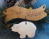 Primitive Lodge Polar Bear Ornament, Bear Watcher Camp Decor