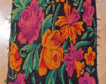 Guatemalan handwoven vintage panel - floral -