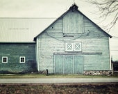 Aqua Barn Landscape, Teal Barn Print or Canvas Wrap, Country Decor, Aqua Decor, Rustic Decor, Farmhouse Art, Horizontal, Large Wall Art.