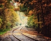 Autumn Landscape Photography, Fall Landscape, Train Tracks Print or Canvas Art, Railroad Tracks Photo, Brown Gold Yellow Sepia, Autumn.