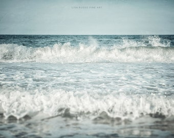 Beach Decor, Coastal Decor, Ocean Art, Ocean Photography, Blue Water Wave Sea Seascape, Aqua Turquoise, Beach Landscape.