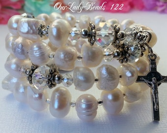Fresh Water Pearls White Rosary Wrap Bracelet,Wrist Rosary,Rosary Bangle,Bridal,Confirmation Gift,Catholic Jewelry,Religious Gifts,122-36