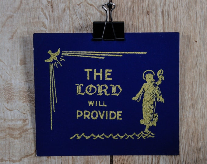 """Vintage Gold Glitter Sign """"The LORD Will Provide"""" Religious 