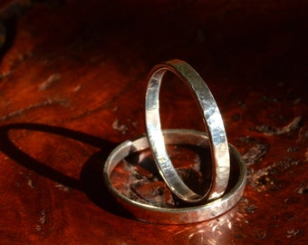 Simple Stacking Rings - Size 7.5 - Dappled Finish - Sterling Silver
