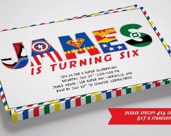 SALE 50% Off! Superhero Name Digital Birthday Invitation