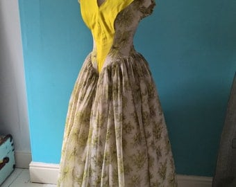 Original vintage 1950s lemon yellow floral print ball dress