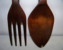 Large Wooden Fork and Spoon Wall Decor Totem Pole Design